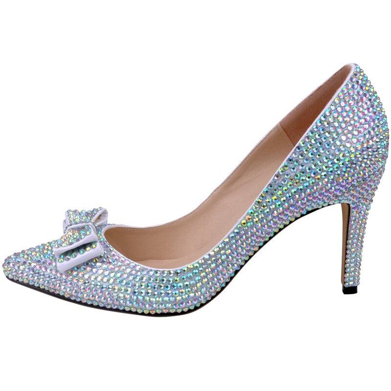 LOSLANDIFEN Women Crystal Bow Heels 8CM High Heel Full Rhinestone Pointed  Toe Wedding Shoes Women Bridal Pumps c813f131c513