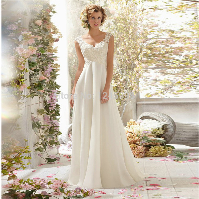 2015 elegante A linha frisada traseira aberta V pescoço vestido de casamento / vestido de noiva