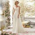 2015 elegante una línea rebordeó espalda abierta con cuello en V de encaje blanco vestido de novia / vestido de novia