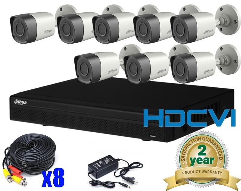 2016 Dahua HAC-HFW1200RP HDCVI 2MP HD IR Outdoor Bullet CVI Camera DAHUA HCVR7108H-S2 8CH H.264 HDCVI DVR Security CCTV System hd cvi security bullet camera cvi 720p 1 0mp 2 array ir leds 6mm lens