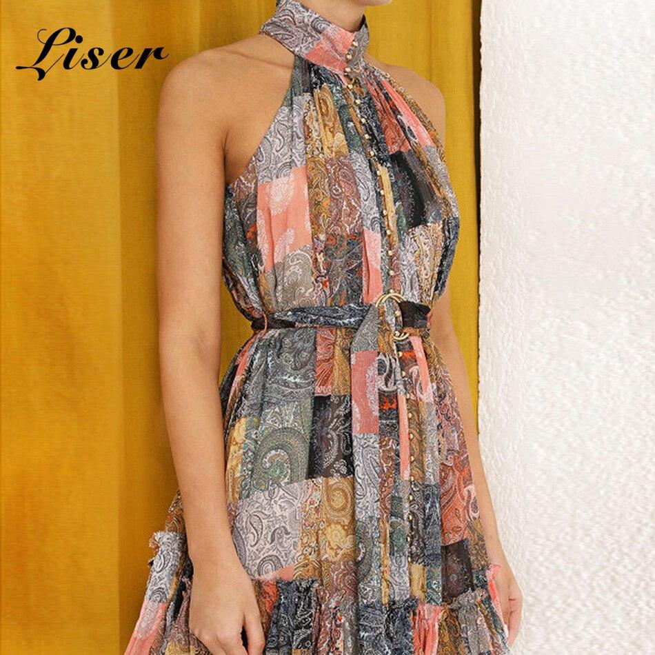 Liser 2019 New Summer Women Dress Halter Neck Sashes Dress Sexy Bodycon Elegant Celebrity Party Multi Dresses Vestidos Wholesale