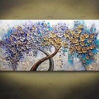 Hand Painted Palette Knife Art Purple Golden Flower Tree Oil Painting 1 Panel Wall Art On Canvas Decorative Home Decor Art Work