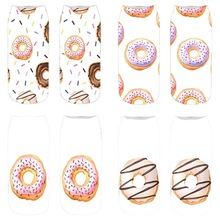 Printed female socks, doughnuts, playful and interesting shallow-mouthed 3-D digital printed cotton socks