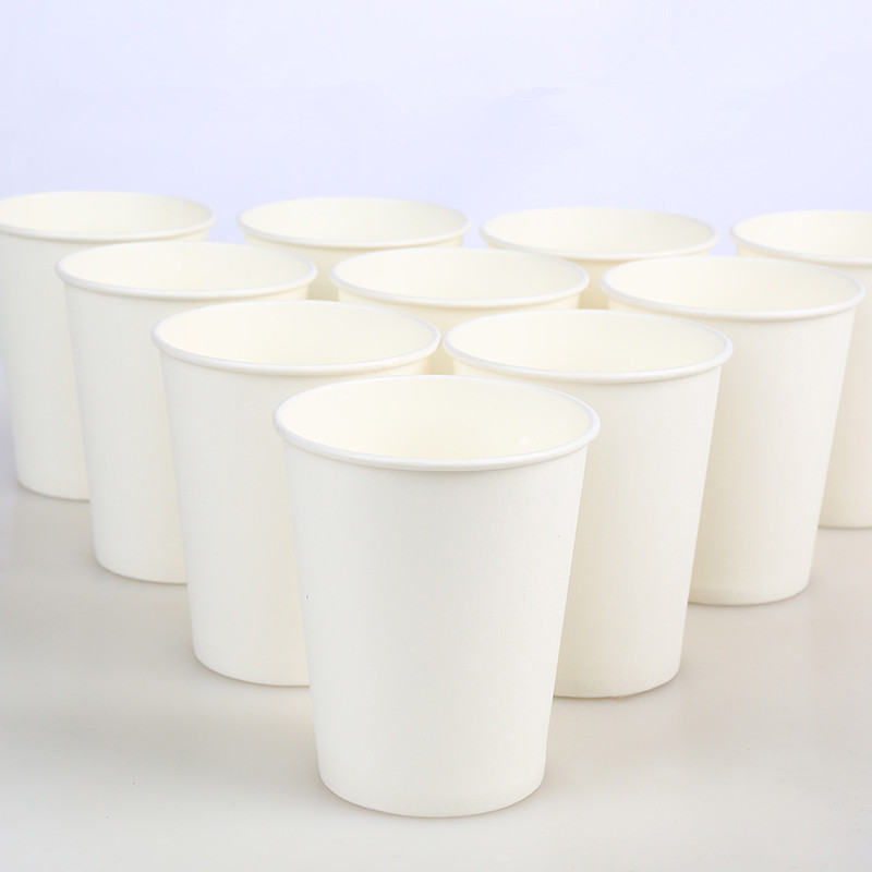 100pcs/Pack 250ml Pure White Paper Cups Disposable Coffee Tea Milk Cup Drinking Accessories Party Supplies Accept Customize