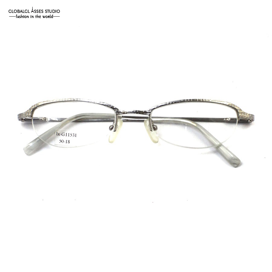 fa9ae17d2a8c Retro Half Rim Oval Lens Metal Glasses Silver Plaid Frame Acetate Tip Prescription  Optical Reading Glasses lx G11531-in Eyewear Frames from Apparel ...