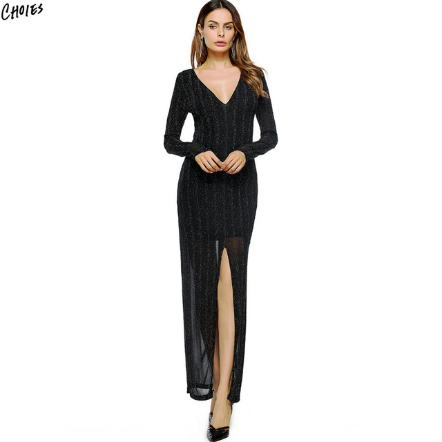 Black Plunge Thigh Split Long Sleeve Maxi Dress With Lining Women
