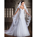 2015 White/IvoryPlus Size A-Line Appliques Sexy Lace Sleeveless V-neck  Court Train China Wedding Dresses Vestidos De Novia