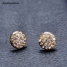 New Popular Round Zircon Stud Earrings Women's Shiny Metal Alloy Earrings Fashion Accessories for Women Wholesale Friend Gift(China)
