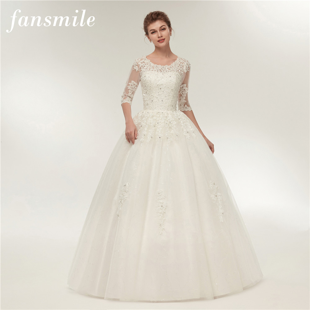 US $85.45 6% OFF|Fansmile Real Photo Vintage Lace Wedding Dresses 2019  Customized Plus Size Bridal Gowns Vestido de Noiva Free Shipping FSM  130F-in ...