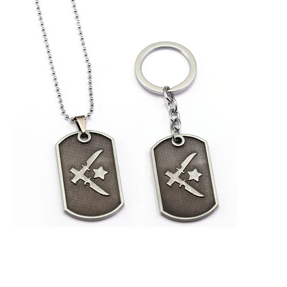 Sliver Counter Strike Keychain Cs Go Metal Pendant Dog Tag Key Holder Ring Chain Collar Jewelry