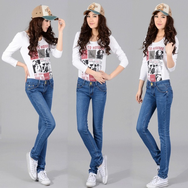Network Hot Manufacturers Wholesale Hot Sexy Tight Jeans Light Blue Stretch Womens Feet Pencil Jeans