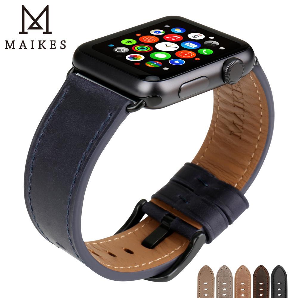 MAIKES Bracelets En Cuir Remplacement Pour Apple Montre Bracelet 42mm 38mm Série 3 2 1 & Apple Montre Bande 44mm 40mm Série 4 iwatch