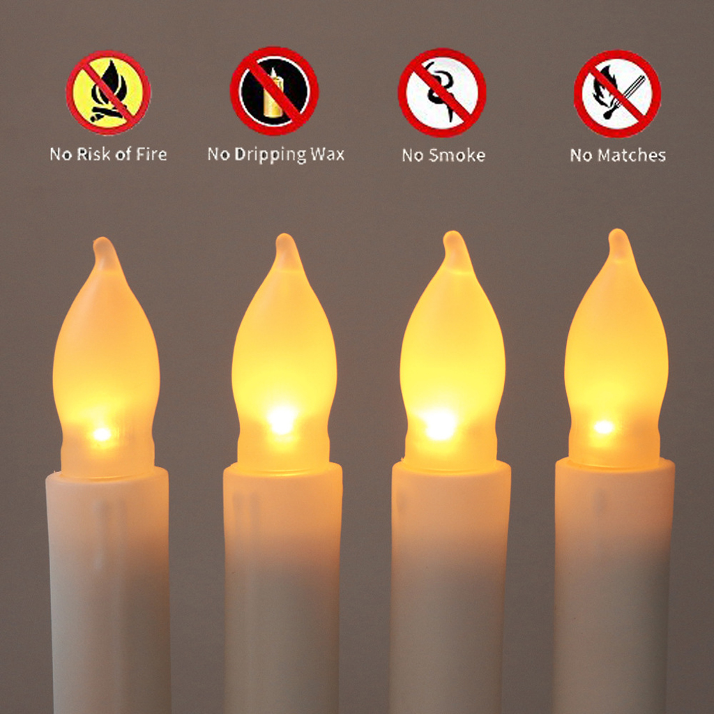 Baoblaze 12x Battery Long LED Taper Candle for Church Home Wedding Party Decor 165mm, Wholesale