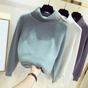 GIGOGOU Women Sweater Pullovers Cowl-Neck Knitted Streetwear Thick Autumn Winter Top