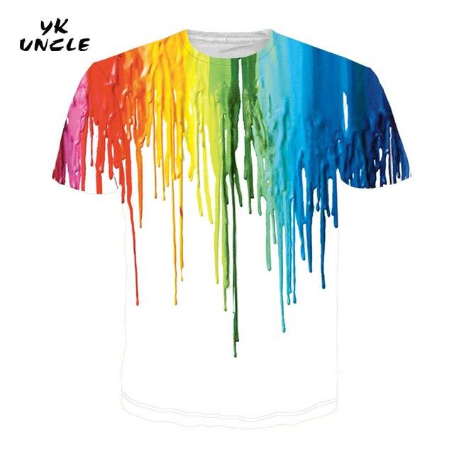 YK UNCLE marca salpicadero pintura camiseta hombres/mujeres manga corta 3d camisetas impresión acuarela pintura Tops moda verano T camisa