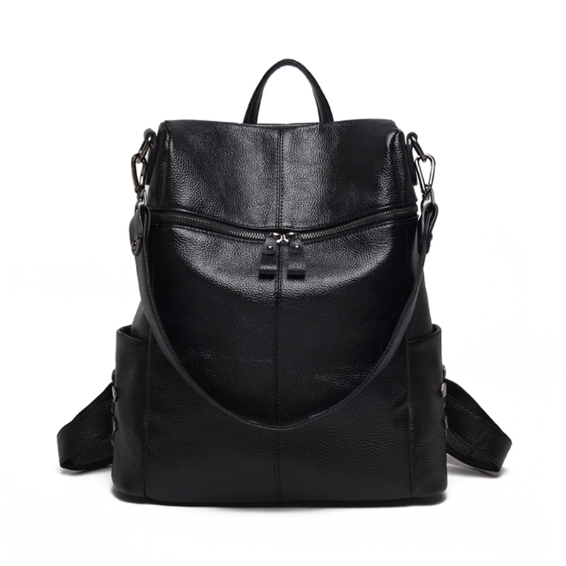 Women Backpack Multifunction Leather Casual Shoulder Bag Large Capacity Backbags Rivet Female Zipper School Bag Travel Backpack