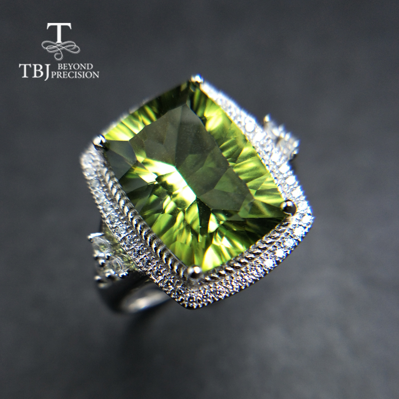 TBJ,Big jewelry set with shinning olive green topaz cushion 10*14mm pendant and ring 925 sterling silver for women best gift недорого