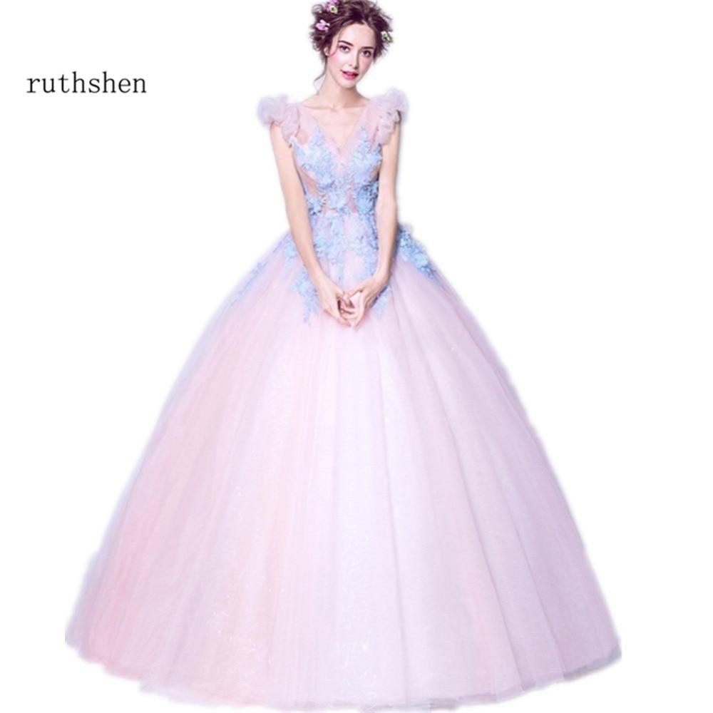 ruthshen 2018 Quinceanera Dresses V Neck Light Appliques Ball Gown Prom  Dress Sweet 15 Teens Formal Masquerade Party Dress-in Quinceanera Dresses  from ... 6dfefc3e8d06