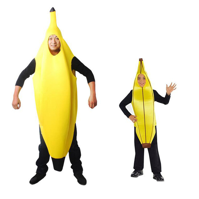 Halloween Christmas Carnival Cosplay Costume Funny Sexy Banana Costume Adult and kids Masquerade Party Fantasia Cosplay Clothes
