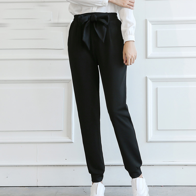 QIAOYI JIA Women OL high waist harem pants bow tie drawstring sweet elastic waist pockets casual trousers pantalones black/white 1