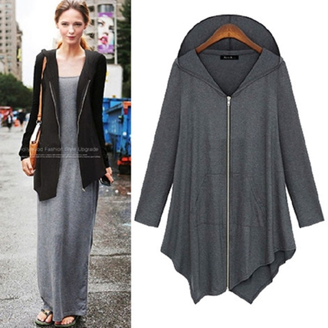 Winter Autumn Plus Size 4XL Women irregular Zip Long Sleeve Hooded Jacket Loose Cape Outwear Irregular Poncho Coat