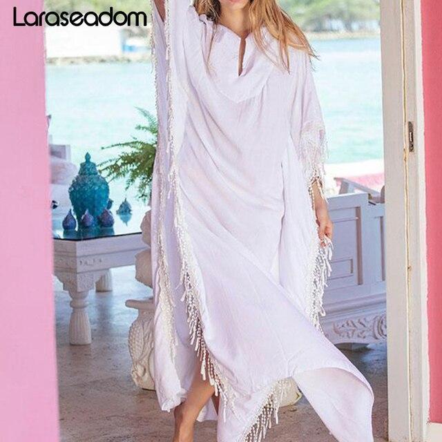 c6020f6e55e4 Más barato 2019 con flecos de algodón blanco túnica playa caftán ...