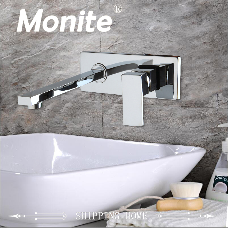 Wall Mounted Waterfall Bathroom Faucet Chrome Brass Spout Vanity Sink Mixer Tap Faucet chrome finished wall mounted bathroom sink tub faucet waterfall spout mixer tap solid brass