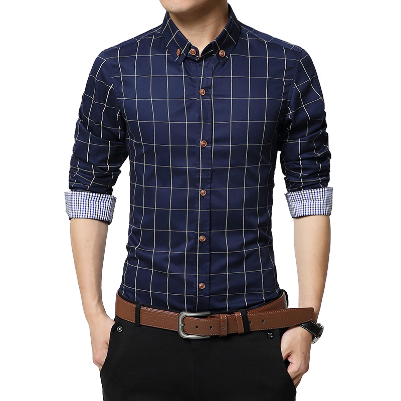 Cigna Autumn Fashion Brand Men Clothes Slim Fit Men Long Sleeve Shirt Men Plaid Cotton Casual Men Shirt Social Plus Size S-5XL