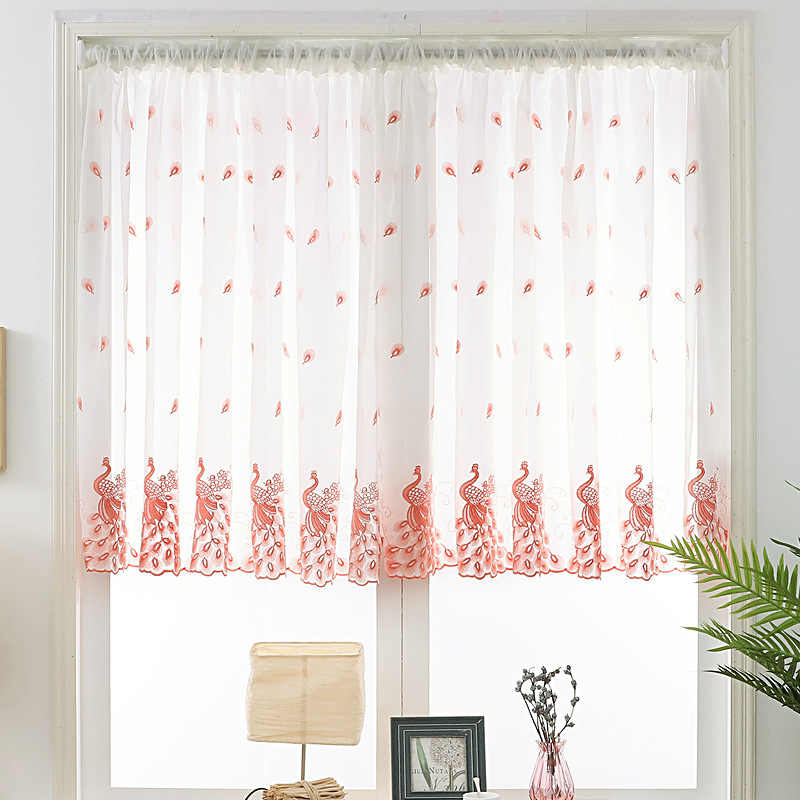 New Pink Peacock Window Gauze 1 Panel Turquoise Blue Peacock Embroidered Short Sheer Voile Rod Pocket Door Curtain Kitchen A38#4