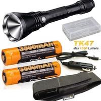 Fenix TK47 1300 Lumen 2300 feet beam LED Flashlight with 2 X Fenix 3500mAh batteries, car charger,battery case