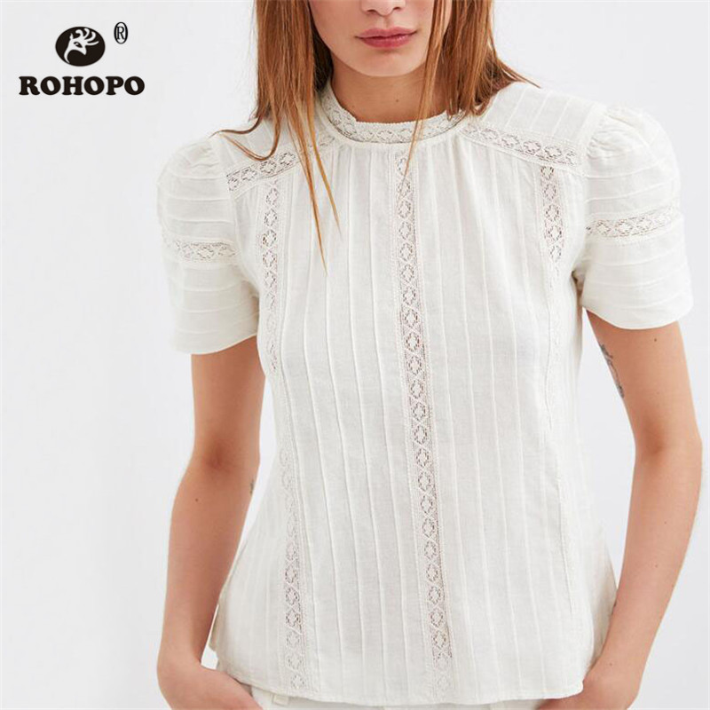 ROHOPO Short Lace Cotton Chic Top Blouse Striped White O Neck Pullover Draped Preppy Girl Top Shirt #OYK9668