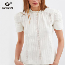 ROHOPO Short Lace Cotton Chic Top Blouse Striped White O Neck Pullover Draped Preppy Girl Shirt #OYK9668