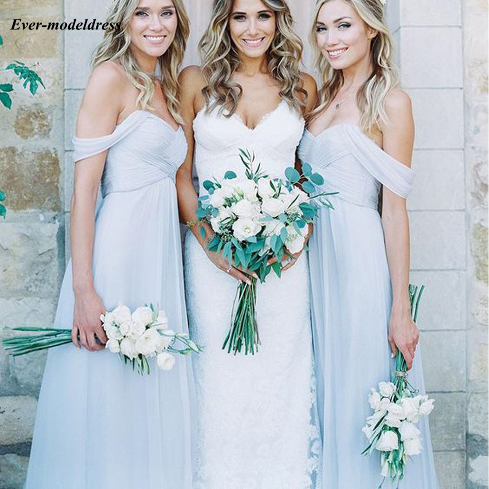 2019 Simple   Bridesmaid     Dresses   Off Shoulder Sleeveless Floor Length A-Line Wedding Guest Party Gown Two Styles Custom Made