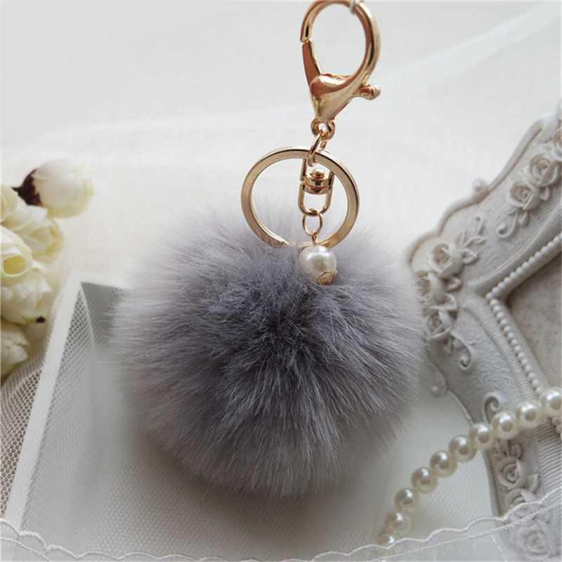 8 cm Rabbit Fur Pom-pom Fofo Sopro Bola Anel Chave Do Carro Chaveiro Pingente