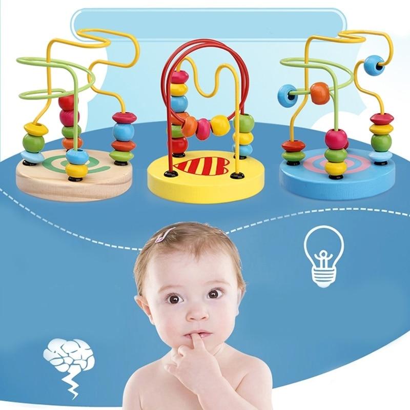 1pcs crianças crianças bebê colorido de madeira mini em torno de grânulos brinquedo jogo educativo (estilo aleatório)