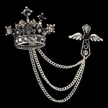 Men Brooch Alloy Vintage Unisex Jewelry Crystal Crown Cross Wing Tassel Brooch For Women Pin Up Broches Accessory