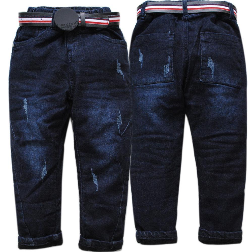 4093 מכנסי ג 'ינס ילד ג' ינס חורף ילדים מכנסי ג 'ינס חמים מכנסיים ג' ינס כחול כהה וגיזת המותניים אלסטית עבה