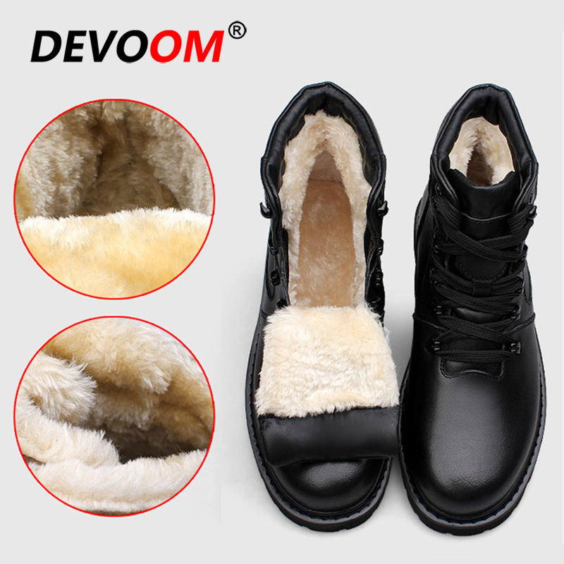Echtes Leder Herren Winter Schuhe 2018 Wasserdicht Schnee Stiefel Männer Schwarz Turnschuhe Freien Pelz Stiefel Mode Arbeit Schuhe Große Größe 47