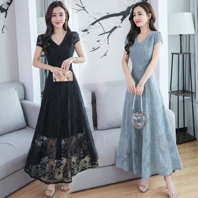 60c9fa3c8cd6c 3XL Plus Size 2019 Elegant Women Midi Sundress Black Party Maxi Dresses  Lace Pink Long Vestido Summer Hollow Out Sexy Boho Dress