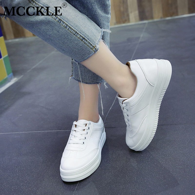 MCCKLE Spring Fashion Women Lace Up Flat Shoes Platform Letters Printing Female Casual Vulcanized Flats Students Sneakers fashion embroidery flat platform shoes women casual shoes female soft breathable walking cute students canvas shoes tufli tenis