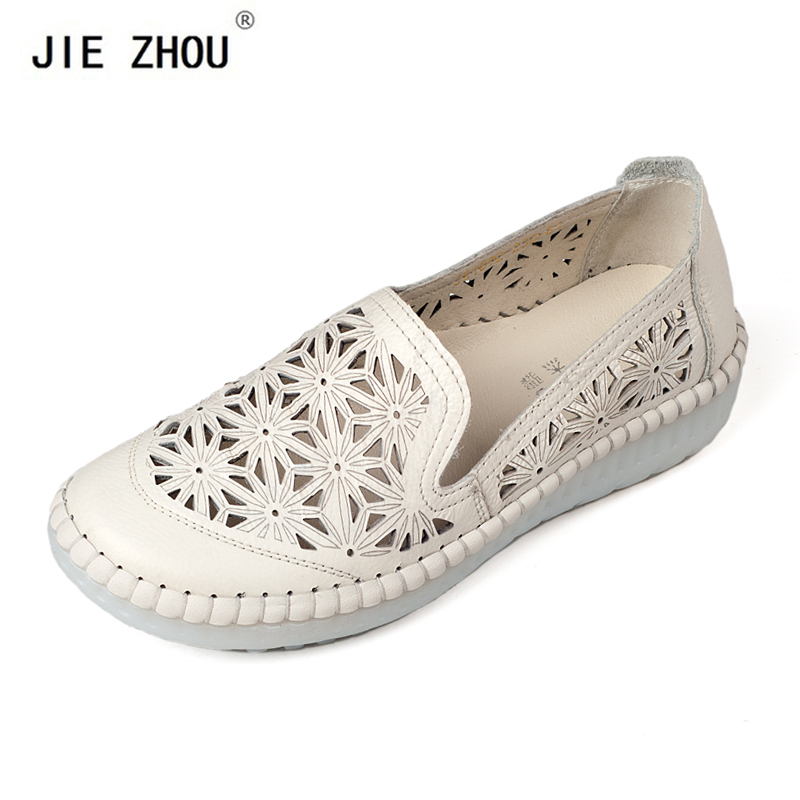 Summer Casual Shoes Woman Genuine Leather Loafers Slip-On Female Flats Moccasins Ladies Driving Shoe Cut-Outs Women Shoe Footwea