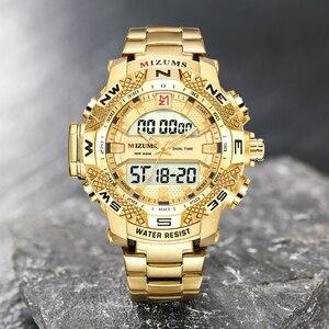 Image 2 - ゴールド腕時計メンズledデジタルスポーツ腕時計男性防水ステンレス鋼バンド高級ブランドmizumsメンズクォーツ腕時計xfcs