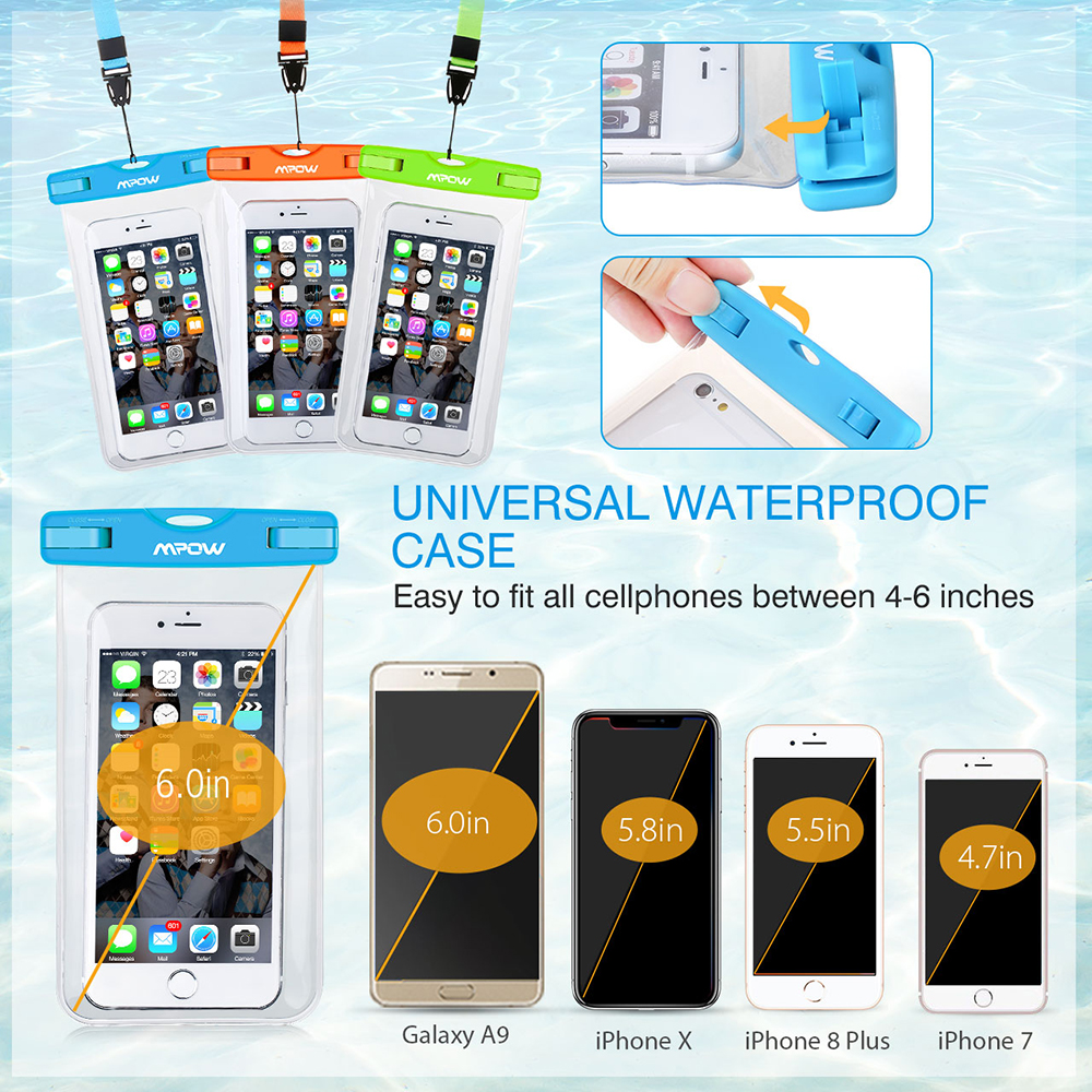 New Mpow MBC3 Universal 4-6 Inch Waterproof Bag Pouch Phone Case Swimming  Case For iPhone XS X 8 7 Plus 6S Galaxy S8 Honor 10