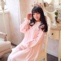 Nova Moda Outono Inverno Pijamas Hepburn Estilo Engrossar Quente Veludo Princesa Camisola Retro Pijamas Feminino Sleepwear Nightdress