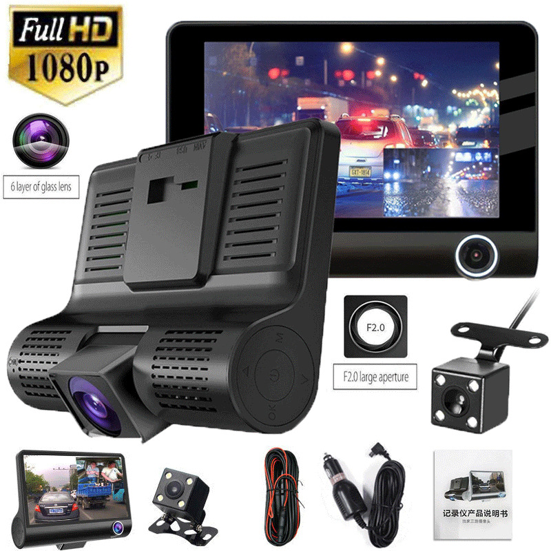 4 Inch HD 1080P 3 Lens Car DVR Dash Cam Vehicle Video Recorder Rearview Camera 170 Degree