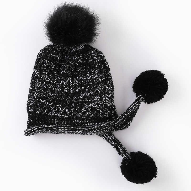 2019 зима новый прилив милые леди плюс бархат вязаная шапка для женщин шерсть три мяча полосы Плюшевые Теплые кепки обувь для девочек д