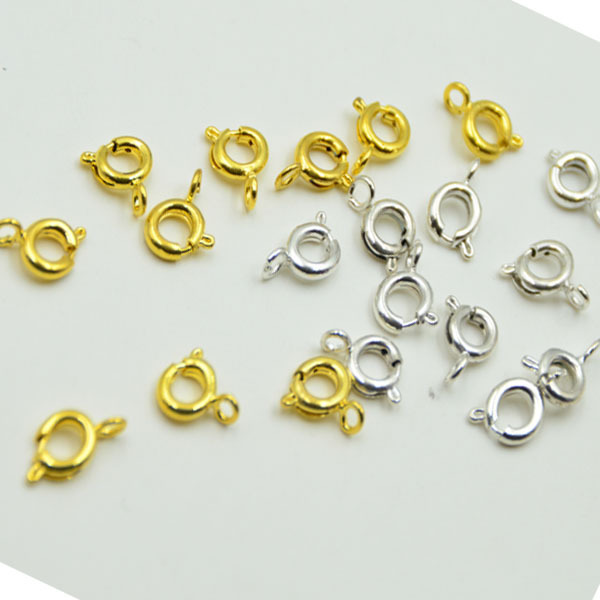 1000pcs/lot 9mm Gold silver Spring clasp Copper Claw Clasp Connector For DIY Jewelry Findings
