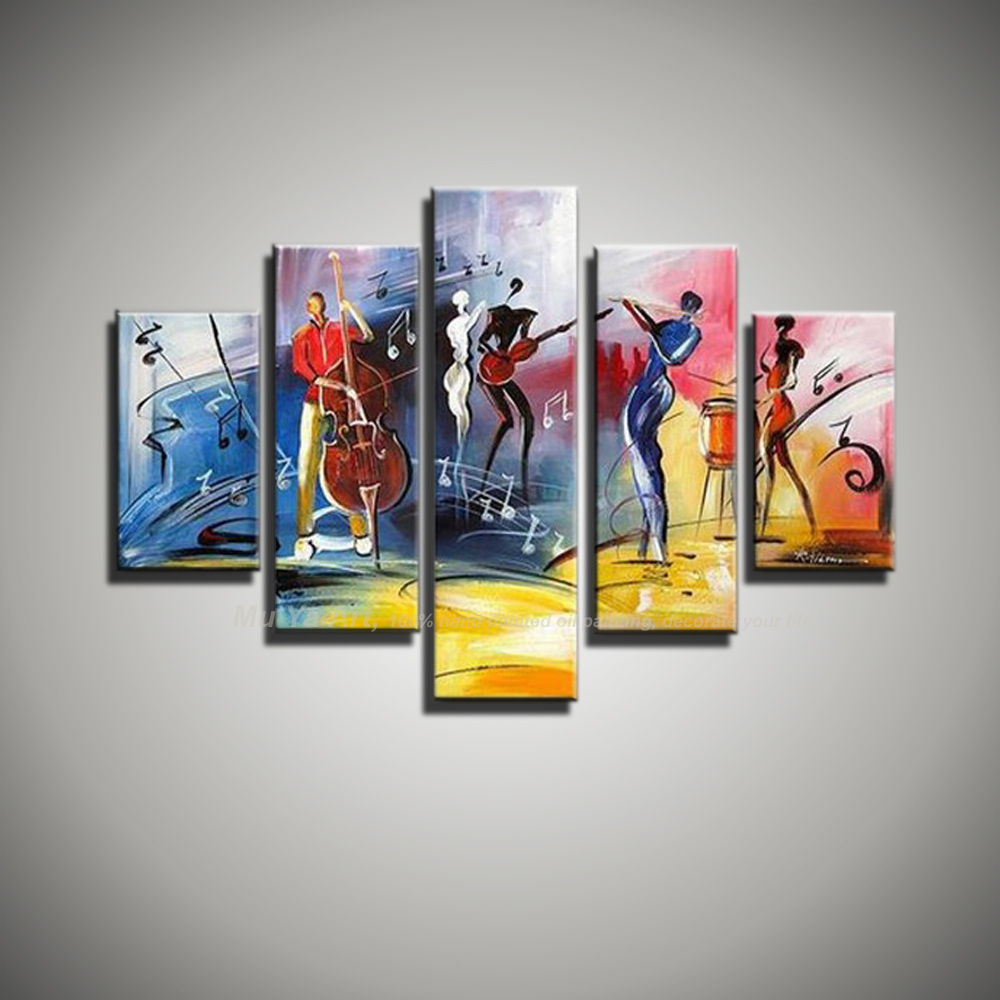 Free shipping modern abstract figure painting painted 5 piece canvas wall art music jazz art picture oil painting living room