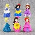 6 pçs/set Bella Adormecida Sofia figuras Princesa Ariel Cinderela branca de Neve Dos Desenhos Animados Figura Toys Dolls Frete Grátis 8 CM