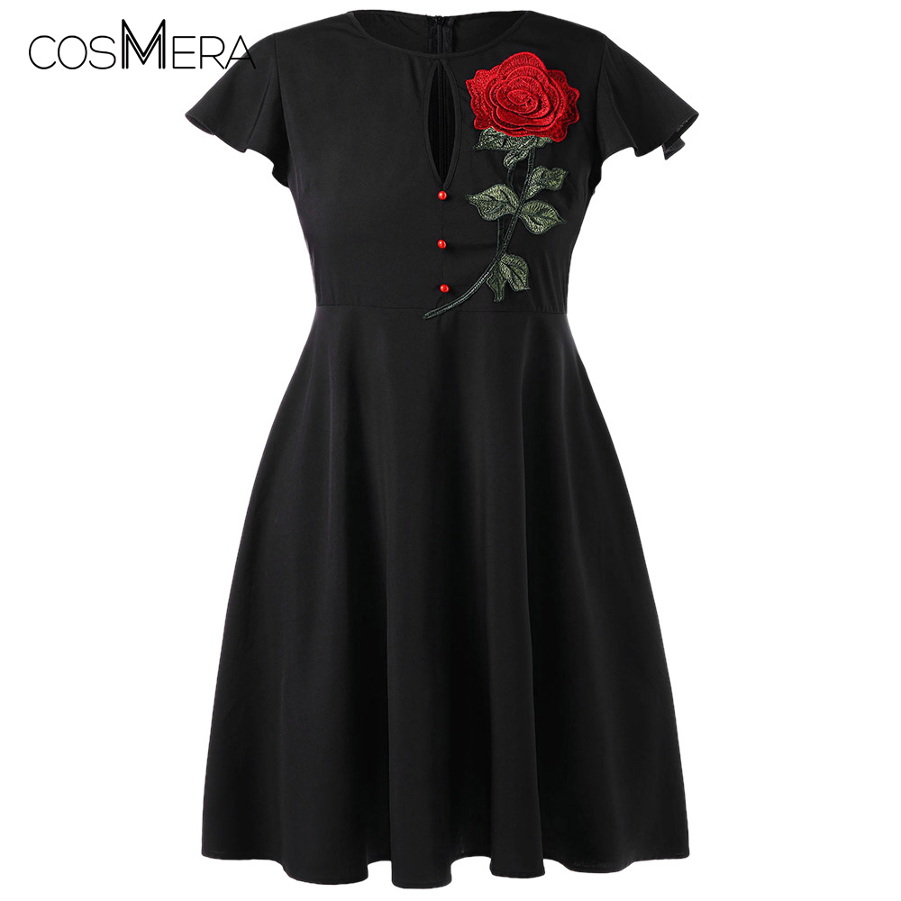dd63fa93234 Detail Feedback Questions about CosMera Plus Size Dress Rose Floral  Embroidery Dress Short Sleeve O Neck High Waist Vintage Party Dresses 2018  Summer ...